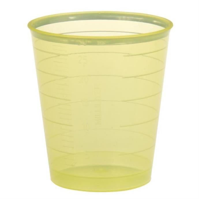 Einnehmebecher 30ml, Pack à 80 Stück, gelb