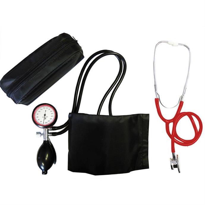 2-Schlauchgerät + Stethoskop Doppelkopf rot