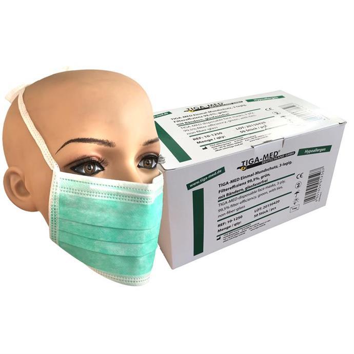 OP-Mundschutz grün, zum Binden, Pack à 50 Stück