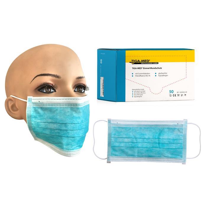 OP-Mundschutz blau, mit Gummiband, Pack à 50 Stück