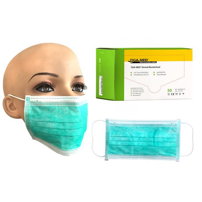 OP-Mundschutz grün, mit Gummiband, Pack à 50 Stück