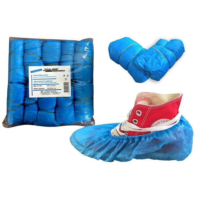 OP-Überschuhe, ca.2,8 gr,  blau, CPE-Material Pack à 100 Stück
