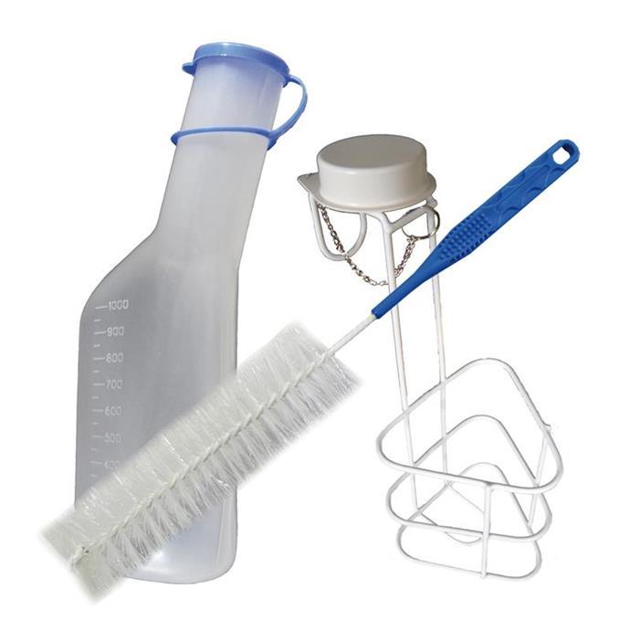Urinflaschen-Set, 3-teilig Flasche, Bürste & Halter