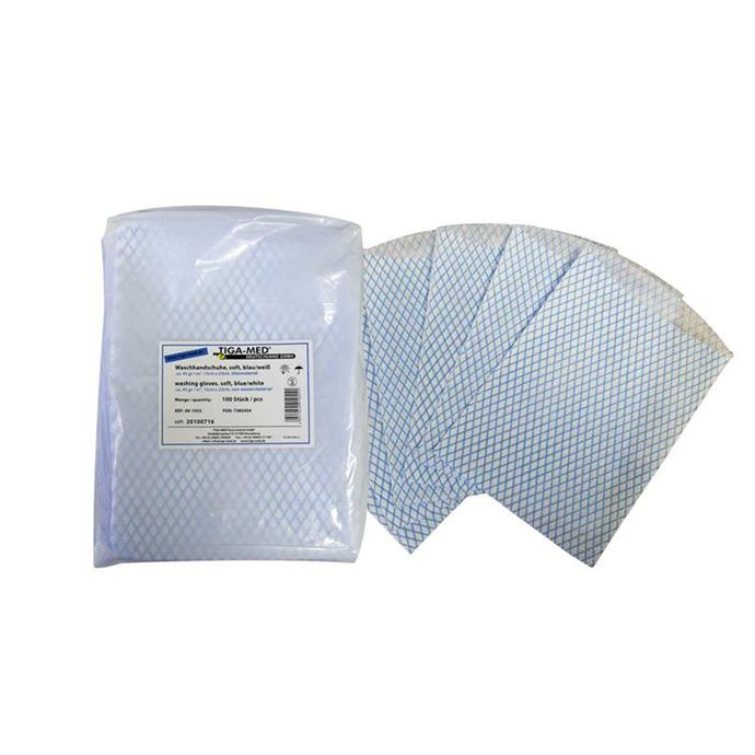 Waschhandschuhe, soft, blau/weiß, Pack à 100 Stück