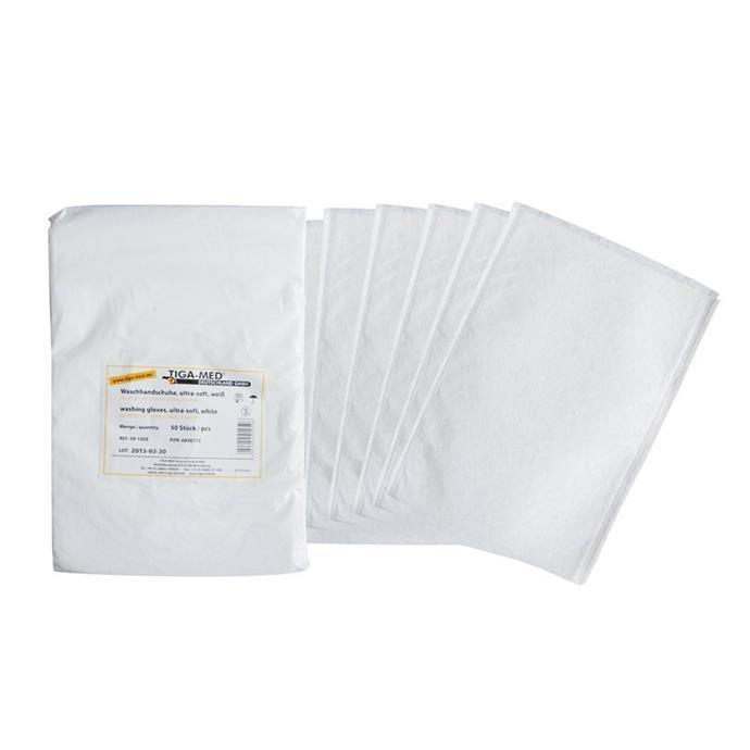 Waschhandschuhe, ultra-soft, Molton, weiß, Pack à 50 Stück