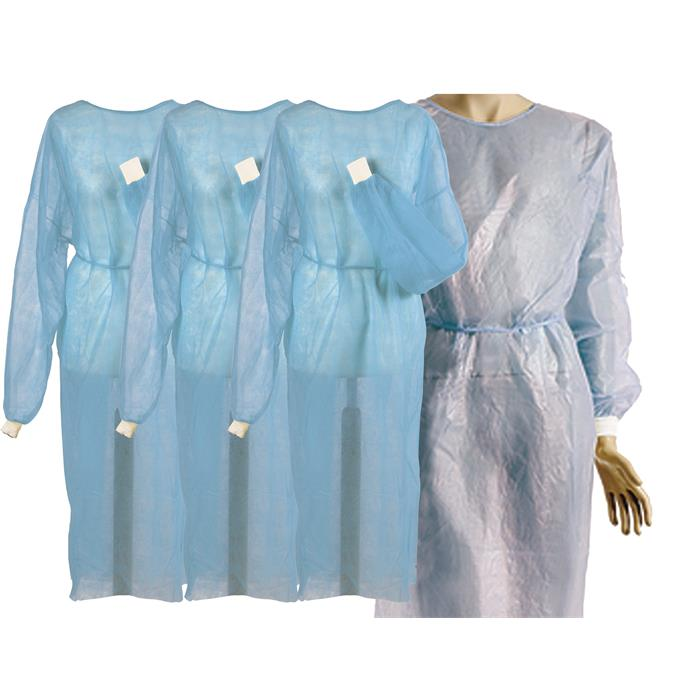 Vlies-/Hygienekittel blau, mit PE-Beschichtung und Bündchen, ca. 115 x 138cm, Pack à 10 Stück