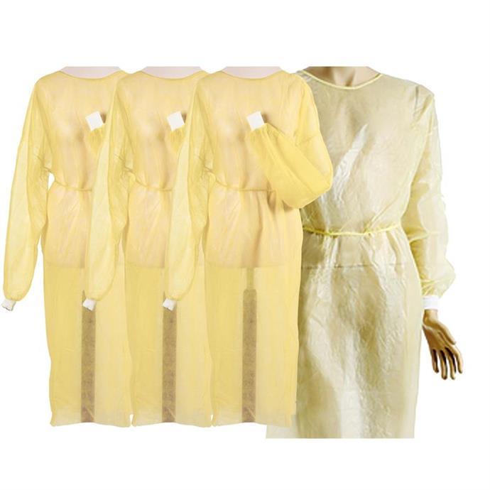 Vlies-/Hygienekittel gelb, mit PE-Beschichtung und Bündchen, ca. 140 x 140 cm, Pack à 10 Stück