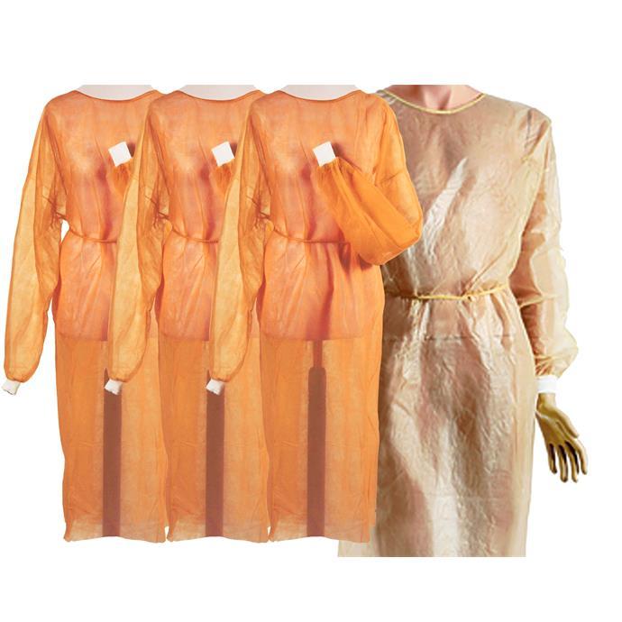 Vlies-/Hygienekittel orange, PE-Beschichtung an Vorderseite und Ärmeln, Pack à 10 Stück